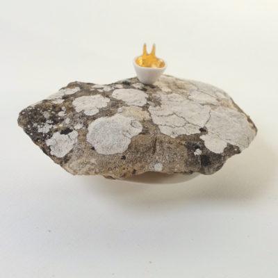 jeux d'échelle, pierre, lichen, porcelaine modelée.
