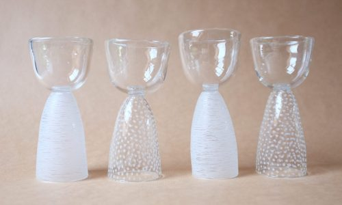 verres à pied, verre soufflé, pièces uniques, artisanat